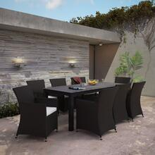 Junction 9 Piece Outdoor Patio Dining Set in Brown White