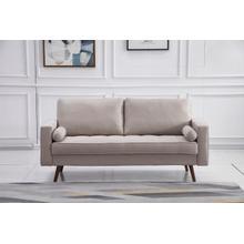 See Details - 8117 BEIGE Linen Stationary Sofa