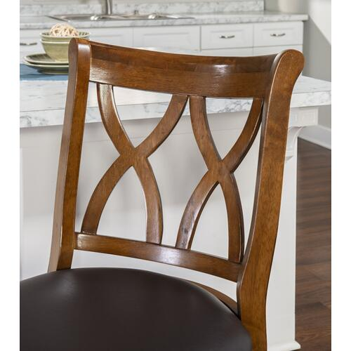 Curved Double-x Wood Back and Pu Cushion Seat Swivel Counter Stool, Rustic Oak