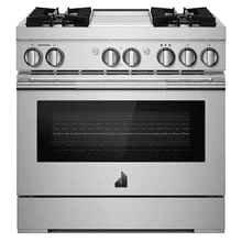 """See Details - 36"""" RISE™ Dual-Fuel Professional-Style Range with Chrome-Infused Griddle and Steam Assist"""