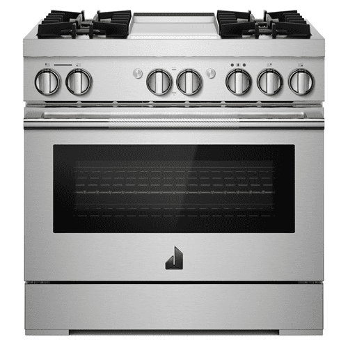 "36"" RISE™ Dual-Fuel Professional-Style Range with Chrome-Infused Griddle and Steam Assist"