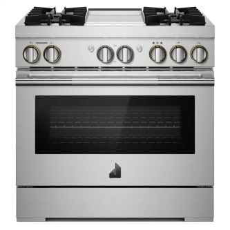 """36"""" RISE™ Dual-Fuel Professional-Style Range with Chrome-Infused Griddle and Steam Assist"""