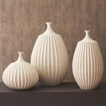 Sawtooth Vase-Rustic White-Lg