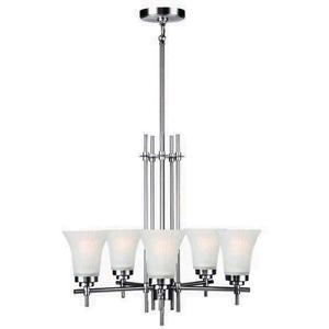 5-lite Chandelier, Ss W/frost Glass Shade, Type A 60wx5