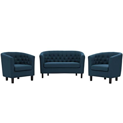 Prospect 3 Piece Upholstered Fabric Loveseat and Armchair Set in Azure