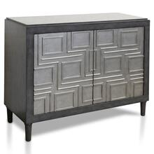 GEO CHEST  33in X 40in  Silver Geometric Pattern Two Door Cabinet
