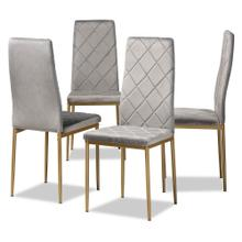 View Product - Baxton Studio Blaise Modern Luxe and Glam Grey Velvet Fabric Upholstered and Gold Finished Metal 4-Piece Dining Chair Set