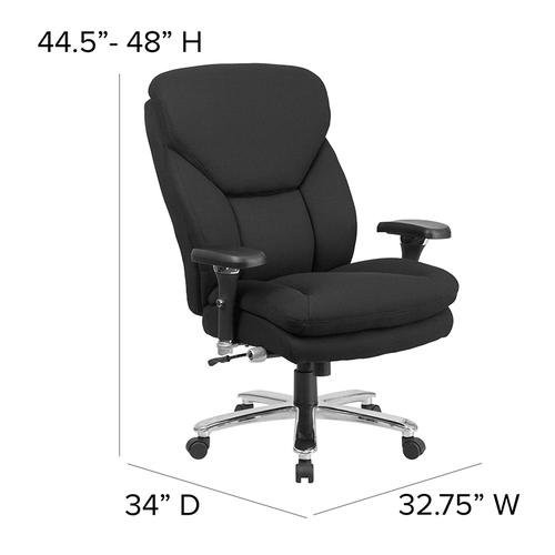 Gallery - HERCULES Series 24\/7 Intensive Use Big & Tall 400 lb. Rated Black Fabric Executive Ergonomic Office Chair with Lumbar Knob