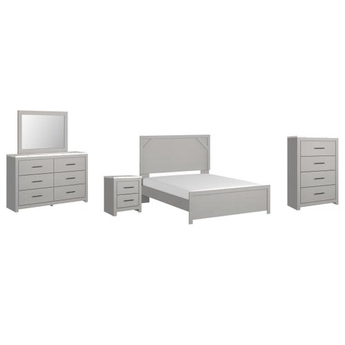 Gallery - Queen Panel Bed With Mirrored Dresser, Chest and Nightstand