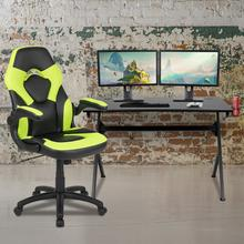 Black Gaming Desk and Green\/Black Racing Chair Set with Cup Holder, Headphone Hook & 2 Wire Management Holes