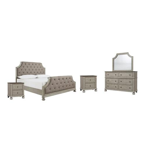 Ashley - Queen Upholstered Panel Bed With Mirrored Dresser and 2 Nightstands