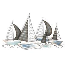Blue/green Metal Sailboats Wall Decor Wb