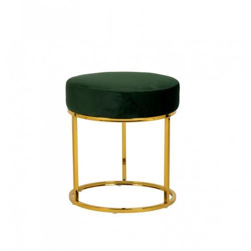 Modrest Elmont Modern Green Velvet & Gold Stool Ottoman