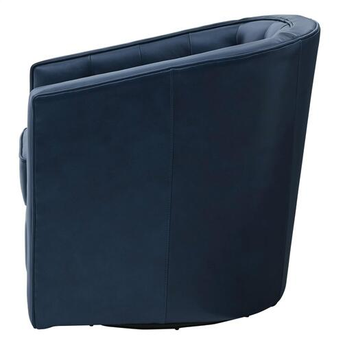 Walsh Top Grain Leather Swivel Accent Arm Chair, Garrett Blue