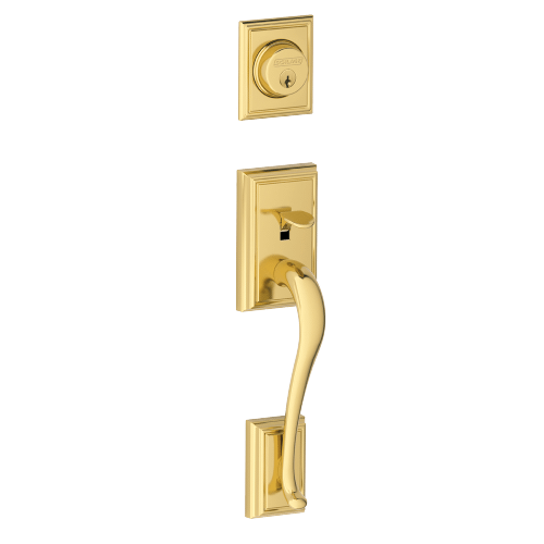 Schlage - Addison In-active Handleset and Accent Lever - Bright Brass