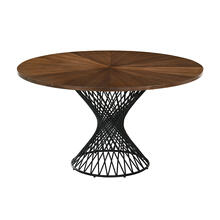"Cirque 54"" Round Mid-Century Modern Pedestal Walnut Wood Dining Table with Epoxy Black Metal Base"