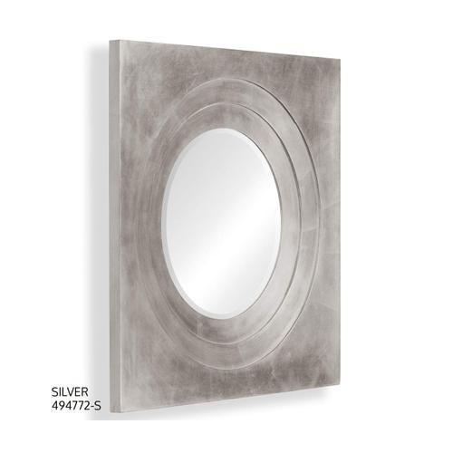 Silver framed round mirror