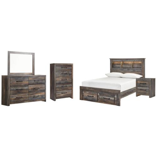Full Bookcase Bed With 2 Storage Drawers With Mirrored Dresser, Chest and Nightstand