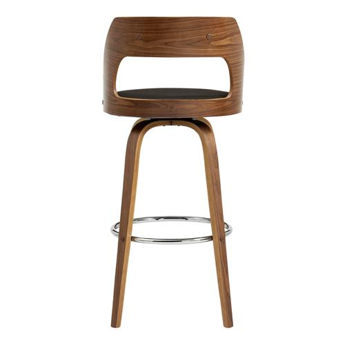 """Armen Living - Axel 30"""" Swivel Bar Stool in Brown Faux Leather and Walnut Wood"""
