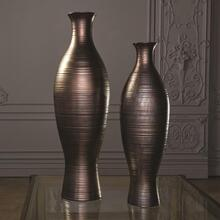 Horizontal Texture Vase-Bronze-XLg