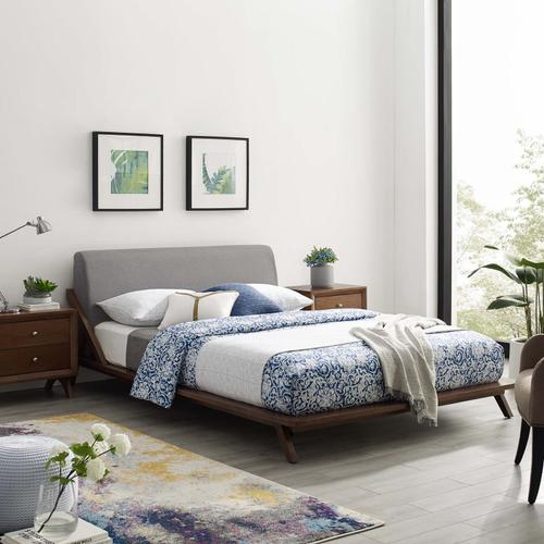 Modway - Luella Queen Upholstered Fabric Platform Bed in Walnut Light Gray