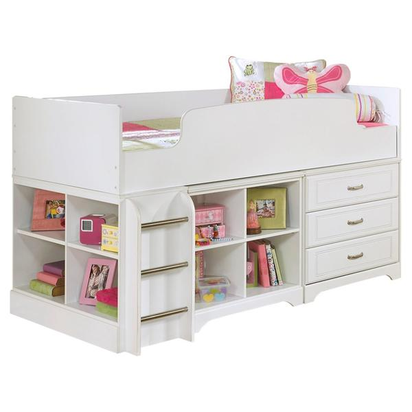 See Details - Lulu Twin Loft Bed With 3 Drawer Storage and Bookcase