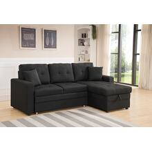 8008 BLACK Linen Pull Out Sectional Sofa