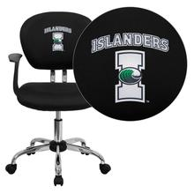 Texas A&M University - Corpus Christi Islanders Embroidered Black Mesh Task Chair with Arms and Chrome Base