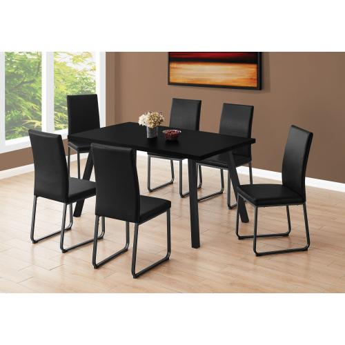 "DINING CHAIR - 2PCS / 38""H / BLACK LEATHER-LOOK / BLACK"