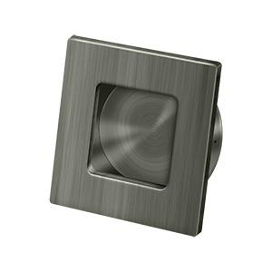 """Flush Pull, Square, HD, 2-3/4""""x 2-3/4"""", Solid Brass - Antique Nickel"""