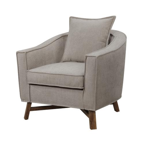 Modern Burlap Accent Chair with Flange Welt
