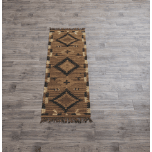 Navy Blue & Tan Kilim 2' x 6' Rug