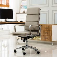 Modica Chromel Contemporary High Back Office Chair, Taupe