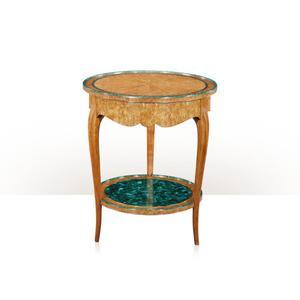 Theodore Alexander - A Karelian birch and malachite lamp table, Malachite