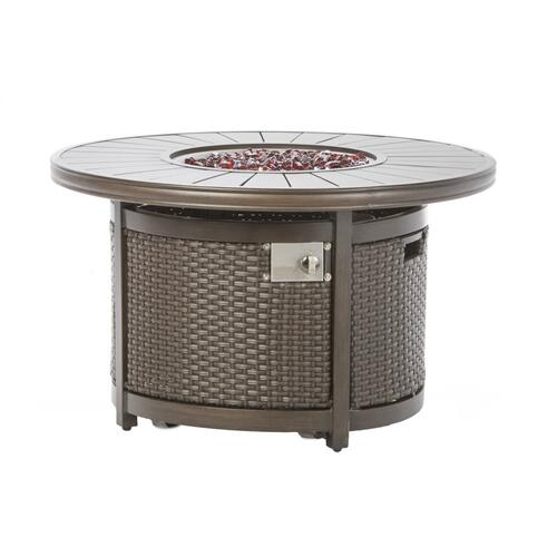 "La Lima 42"" Round Gas Fire Pit Chat Table w/burner"