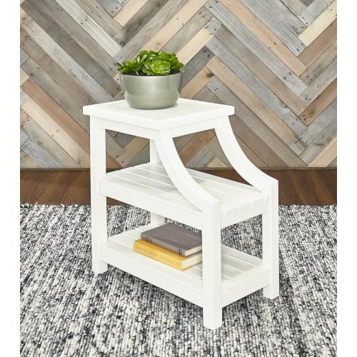 2 Open Shelves Side Table, White