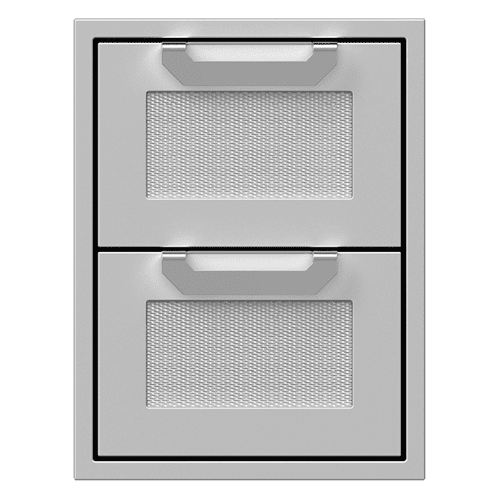 """16"""" Hestan Outdoor Double Storage Drawers - AGDR Series - Stealth"""