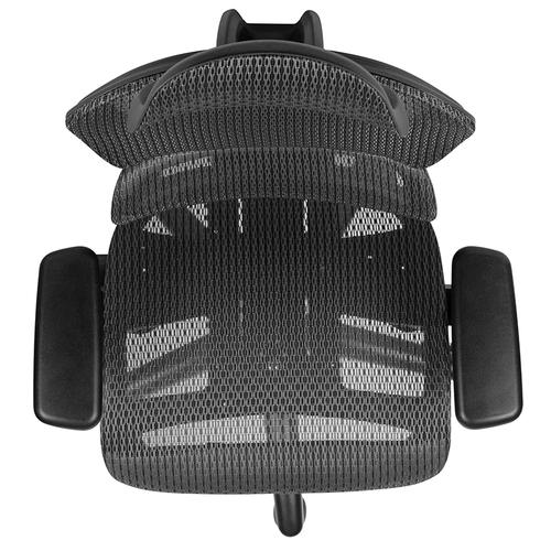 Flash Furniture - Ergonomic Mesh Office Chair with 2-to-1 Synchro-Tilt, Adjustable Headrest, Lumbar Support, and Adjustable Pivot Arms in Gray