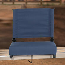 See Details - Grandstand Comfort Seats by Flash - 500 lb. Rated Lightweight Stadium Chair with Handle & Ultra-Padded Seat, Navy Blue