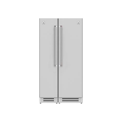 "Hestan - 42"" Column Freezer (L) and Refrigerator ® Ensemble Refrigeration Suite - Pacific-fog"