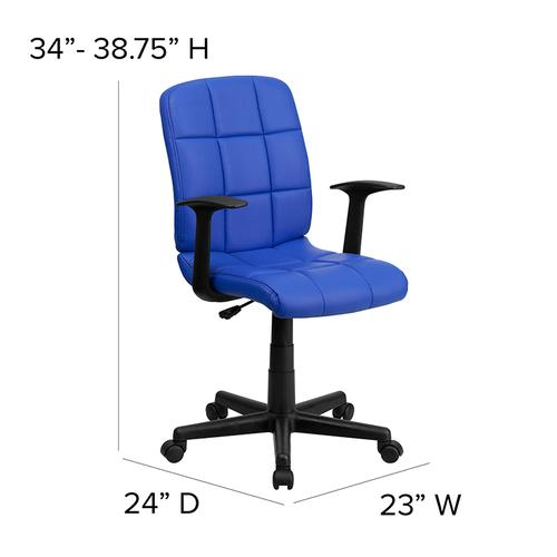 Gallery - Mid-Back Blue Quilted Vinyl Swivel Task Office Chair with Arms