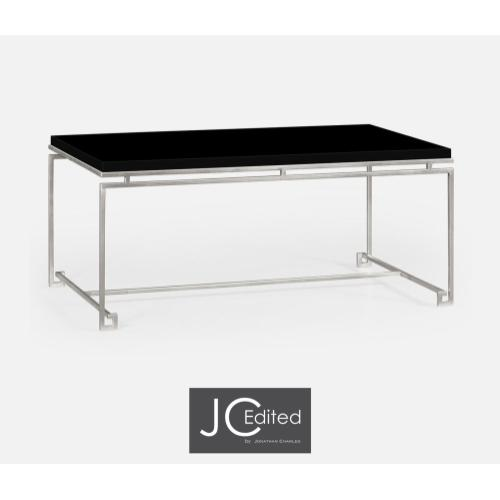 Silver Iron Rectangular Coffee Table with Smoky Black Top