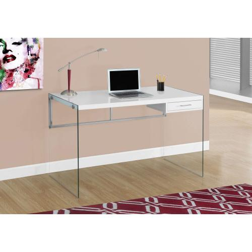 """Gallery - COMPUTER DESK - 48""""L / GLOSSY WHITE / TEMPERED GLASS"""