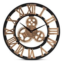 Baxton Studio Randolph Industrial Vintage Style Black and Distressed Brown Finished Wood Wall Clock