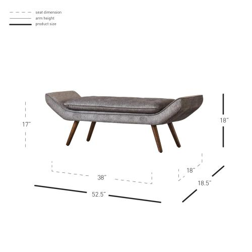 Product Image - Newcastle KD Fabric Tufted Bench, Tweed Gray