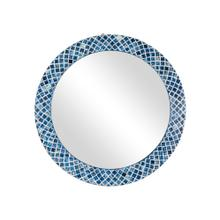 "Luciana 33"" Diamond Pattern Bone In-lay Mirror, Blue"