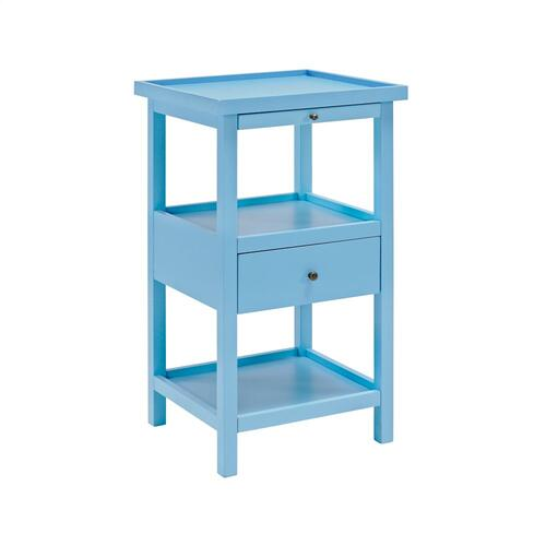 Two Open Shelves and 1-drawer Accent Table With Pull Out Tray, Ocean Blue