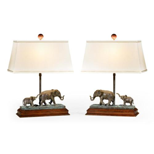 A Pair of Elephant Table Lamps