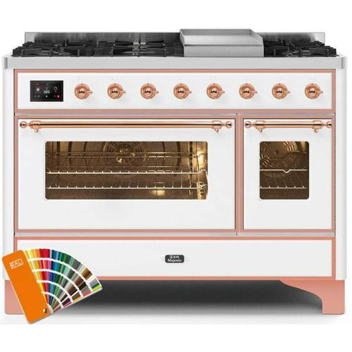 Majestic II 48 Inch Dual Fuel Natural Gas Freestanding Range in Custom RAL Color with Copper Trim
