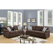 Emanuel 2pc Loveseat & Sofa Set, Dark-coffee